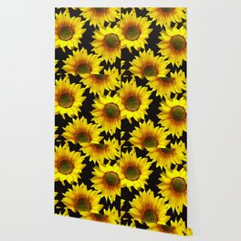 Large Sunflowers on a black background #decor #society6 #buyart Wallpaper