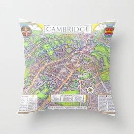 CAMBRIDGE University map ENGLAND Throw Pillow