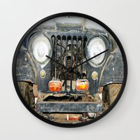jeep Wall Clocks featuring Willie Jeep by Urlaub Photography