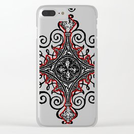 Noble House II CRUSADER RED / Grungy heraldry design Clear iPhone Case