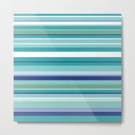 Tropical Blue Stripe|Banana Leaf Coordinate|Renee Davis Metal Print