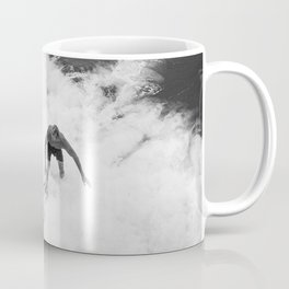 Black and White Wave Surfer Coffee Mug