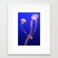 jelly fish Framed Art Prints featuring jelly fish by Bunny Noir