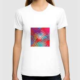 Abstract pink blue purple patchwork design T-shirt