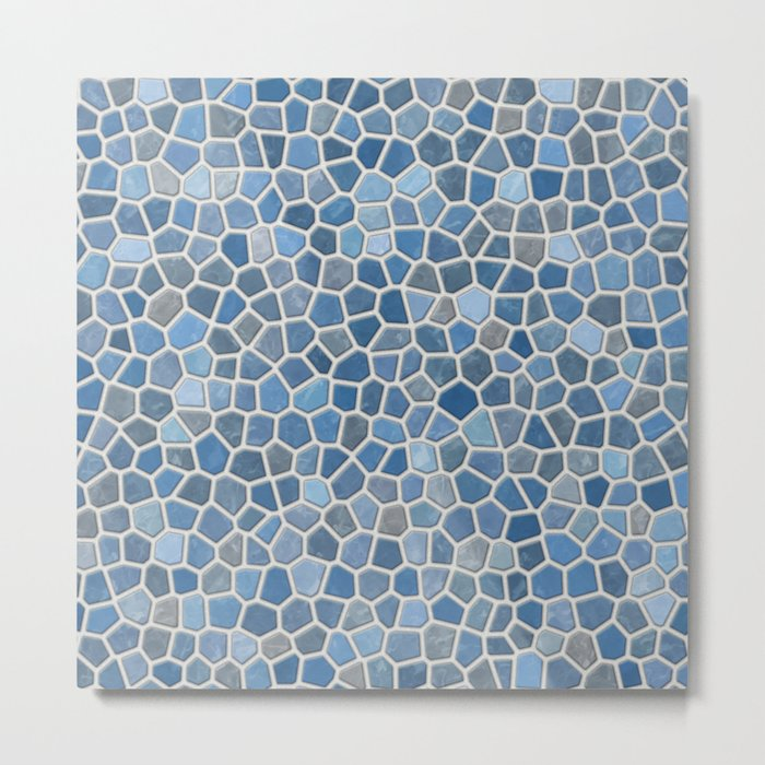 Blue Mosaic Pattern - Light Metal Print