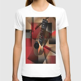 Man in red playing the guitar T-shirt