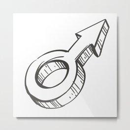 Male Illustration Metal Print