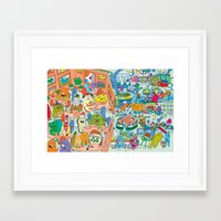 monster inc Framed Art Prints featuring Chez Monster by Clayton (CTON) Hanmer