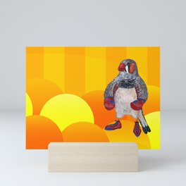 The Energetic Zebra Finch with Boxing Gloves Mini Art Print