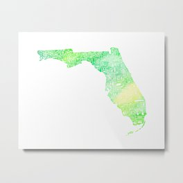 Typographic Florida - green watercolor Metal Print