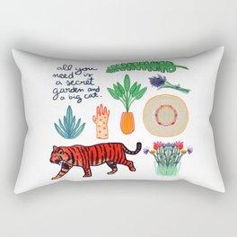 all you need is a secret garden and a big cat Rectangular Pillow
