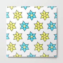 Yellow and Blue Fluro Flowers Metal Print