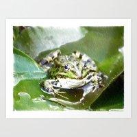 frog Art Prints featuring frog by Karl-Heinz Lüpke
