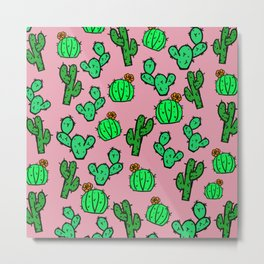 Cactus Print Pink Metal Print