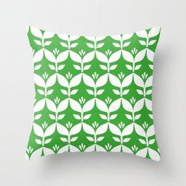 Grass green retro tulip floral Throw Pillow