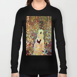 Gustav Klimt Garden with Roosters Long Sleeve T-shirt