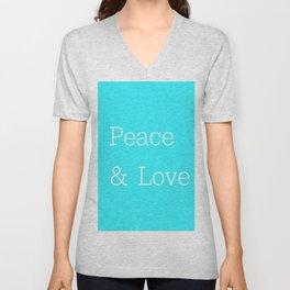 Peace & Love Aqua Unisex V-Neck