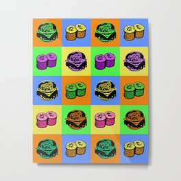 Warhol Burgers Sushi Metal Print