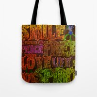 hippie Tote Bags featuring Hippie by BLOOP