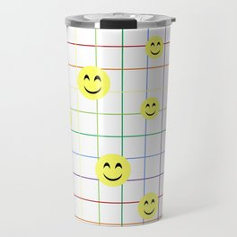 Colorful Smiley Emoji 3 - white Travel Mug