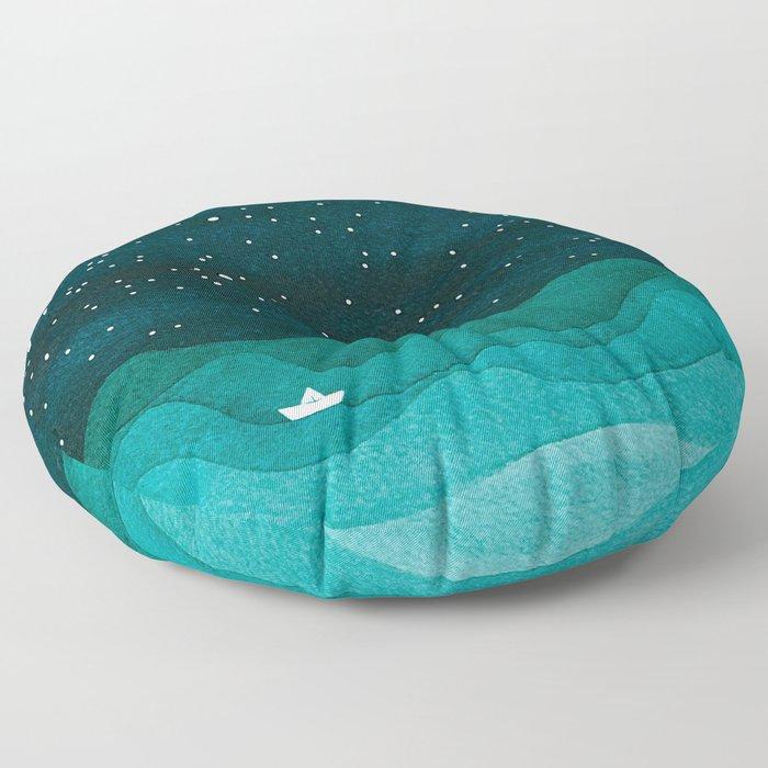 Starry Ocean, teal sailboat watercolor sea waves night Floor Pillow