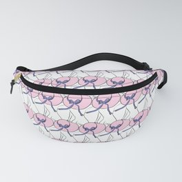 Female silhouette with a hat line art Fanny Pack