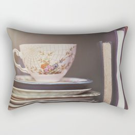 Vintage teacup and old books Rectangular Pillow