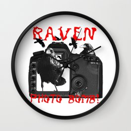 Raven Photo Bomb! Wall Clock