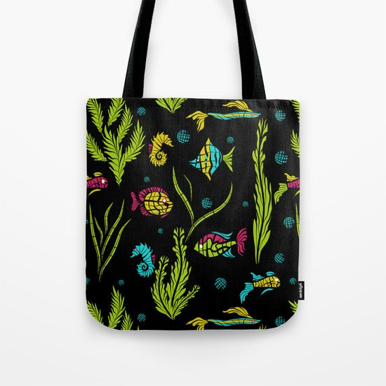 Sea , fish , seaweed , baby pattern . Tote Bag