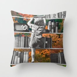 Learn, collage art by LocalHotelParking Throw Pillow