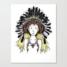 Native American Girl (colored) Canvas Print