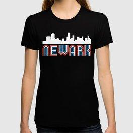 Red White Blue Newark New Jersey Skyline T-shirt