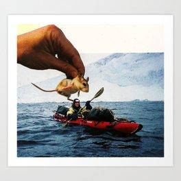 Mouse Garnish On Kayak Surprise Art Print