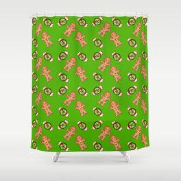 Cute lovely decorative green winter Christmas pattern. Gingerbread men and candy. Shower Curtain