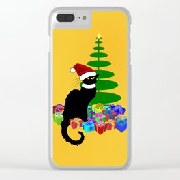 Christmas Le Chat Noir With Santa Hat Clear iPhone Case