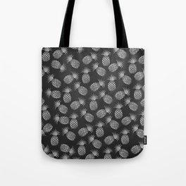 Tropical modern black gray pineapple fruit pattern Tote Bag