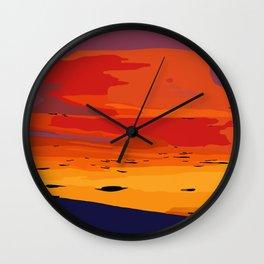 Orange Hillside Sunset Wall Clock