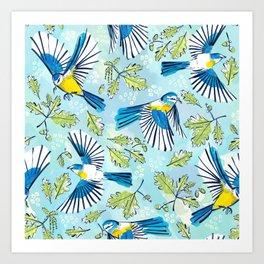 Flying Birds and Oak Leaves Art Print