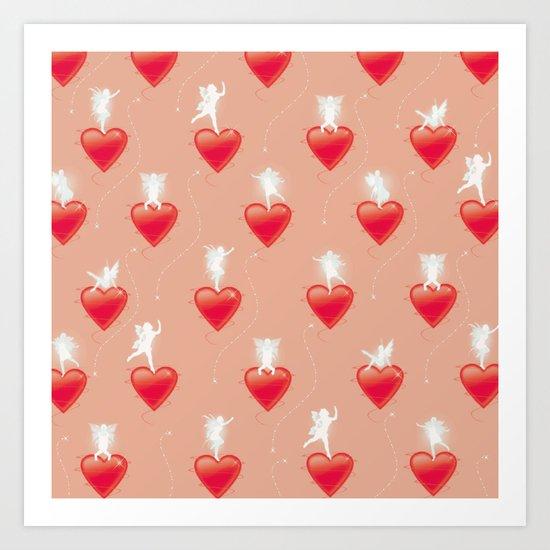 Faerie Hearts - Peach  Art Print