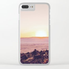 summer sunset over the mountain in the desert in Utah, USA Clear iPhone Case