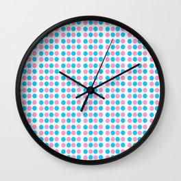 pink and blue polka dot-polka dot,pattern,dot,polka,circle,disc,point,abstract,minimalism Wall Clock