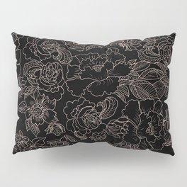 Pink coral tan black floral illustration pattern Pillow Sham