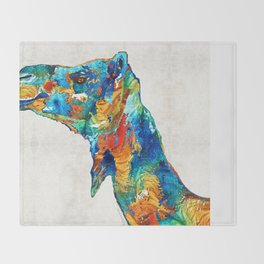 Colorful Camel Art By Sharon Cummings Throw Blanket