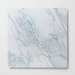 Marble Love Sea Blue Metallic Metal Print
