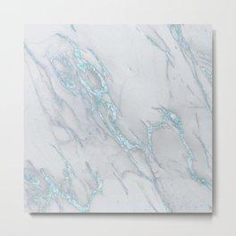 Marble Love Sea Blue Metallic Metal Print