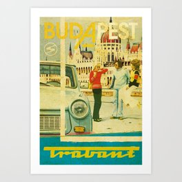 Retro Trabant advertisement with Parliament, Budapest Art Print
