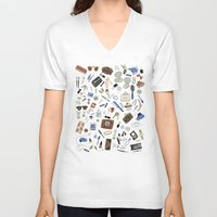 wallet V-neck T-shirts featuring Girly Objects by Yuliya