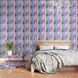 Pink/Blue Geometric Grungy Diamond Pattern Wallpaper
