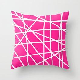 Doodle (White & Dark Pink) Throw Pillow