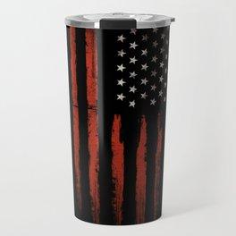 American flag Grunge Black Travel Mug
